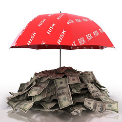 money under red umbrella