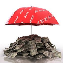 money under red umbrella